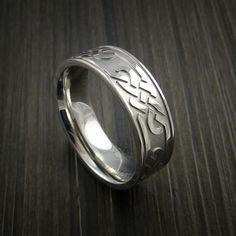Cobalt Chrome Celtic Band Trinity Symbolic Wedding Infinity Ring Custom Made