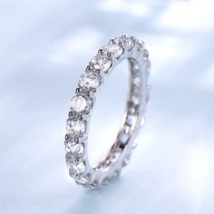 FarryDream Geniune White Gold Plated 925 Sterling Silver CZ Crystal Stacking Ring for Women Teen Girls Eternity Promise Ring