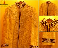 Look majestic in this Golden Cream shade ‪#‎sherwani‬ with contrast Velvet collar and Sleeves embellished with intricate Kasab Work. Try it ♡ Book it ♡ Flaunt it~ Rent an Attire