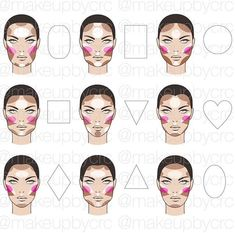 Make-up Highlight/Contour/Blush face chart Face Makeup chart Face Face Makeup chart HighlightContourBlush Makeup Face Contouring, Contour Makeup, Contouring And Highlighting, Skin Makeup, Makeup Brushes, Contour Face, Contouring Guide, Makeup Emoji, Contouring For Beginners