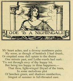 First verse of Ode to a Nightingale by John Keats (May 1819), illustrated by Robert Anning Bell.