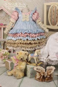Купить Одежда для куклы в стиле шебби-шик . Винтажная лошадка . - куклы, винтаж, бежевый, голубой