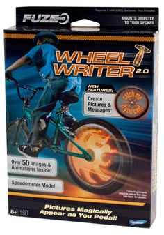 Great for summer fun!  Gift idea for kids. Fuze Wheel Writer Pictures Appear In Your Bike Wheel As You Pedal - A Thrifty Mom