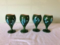 Vintage The Pottery Hawaii Wine Water Goblets in a cool Green Blue Drip Glaze #MidCenturyModern Vintage Glassware, Pottery Art, Wine Glass, Glaze, Blue Green, Hawaii, Bubbles, Im Not Perfect, Water