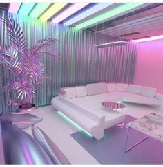Me encantaría pasar un día solo en esta habitación Habitación Vaporwave Room - Neon Bedroom, Girls Bedroom, Bedroom Decor, Awesome Bedrooms, Cool Rooms, Dream Rooms, Dream Bedroom, Cute Room Decor, Girl Bedroom Designs