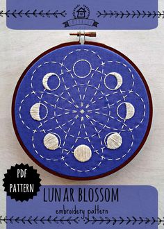 LUNAR BLOSSOM ... a cozyblue embroidery pattern  from my original line drawing inspired by the cycle of the moon, sashiko stitching, and shibori dyeing colors.  heres what youll get: PDF file detailing several methods of transfer instructions full sized pattern list of the embroidery floss color and stitches i used in the example photo.. feel free to use them as a guide if you like, or do something totally unique -- its up to you!   details:  *design is approximately 5.5, and fits nicely in…