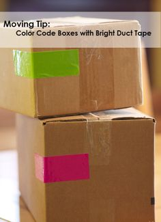 Moving Tip: Color code Boxes with Duct Tape #moving #tips