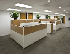 Wide angle view of a #legal office #workstations with #wood paneling
