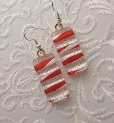 ** Christmas Candy Cane Earrings @GalaxyGlassStudio