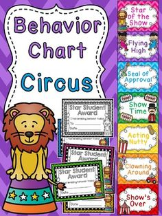 Circus theme behavior chart perfect for a circus themed classroom where kids try to become the Star of the Show! I love all these themed behavior charts - there are a ton of different ones to make the behavior clip chart fun Behavior Chart Preschool, Classroom Behavior Chart, Kindergarten Classroom Management, Classroom Management Strategies, Behaviour Chart, Preschool Classroom, Toddler Classroom, Montessori Elementary, Spanish Classroom