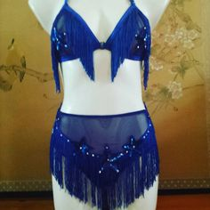 d39c48c324f58 Made to order fringe knickers and triangle bra burlesque set lingerie