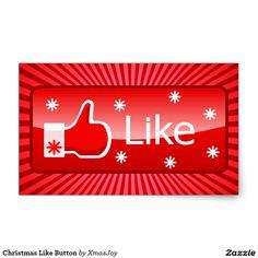 Christmas Like Button Rectangular Sticker