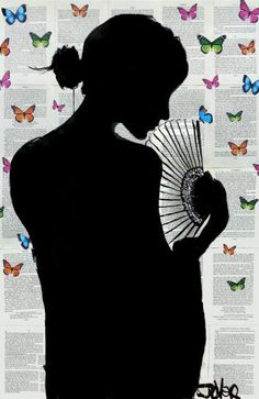 ARTFINDER: BUTTERFLY PATH by Loui Jover - sumi ink on vintage book pages with added hand drawn and colored butterflies. this work forms part of an ongoing series of butterfly works, very popular wit. Butterfly Sketch, Woman Silhouette, Silhouette Art, Framed Prints, Art Prints, Museum Of Fine Arts, Light Art, Ink Art, Online Art
