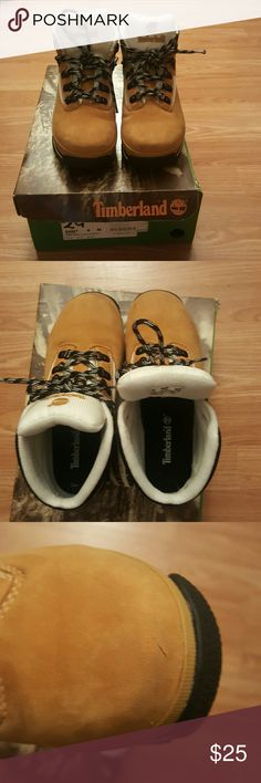 Timberland Euro hiker Youth Perfect for the cold weather! Size 4Y. Genuine Leather and Manmade Upper, Manmade Linings and Outsole. SKU: 94967 02 22. Good Condition Used Timberland Shoes