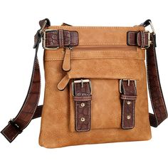 Dasein Soft Faux Leather Crossbody - Brown - Crossbody Bags (295 SEK) ❤ liked on Polyvore featuring bags, handbags, shoulder bags, brown, faux leather crossbody, dasein handbags, brown purse, croc handbags and shoulder strap bags