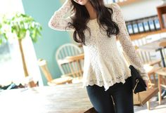Ladylike Scoop Neck Flouncing Long Sleeves Lace Blouse For Women (APRICOT,ONE SIZE) | Sammydress.com