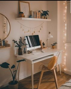 Dream Home Interior .Dream Home Interior Study Room Decor, Cute Room Decor, Room Ideas Bedroom, Bedroom Decor, Teen Bedroom Desk, Bedroom Inspo, Ikea Bedroom, Bedroom Inspiration, Small Bedroom Office