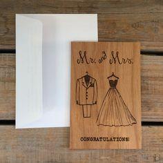 Wedding Card Wood Card Wedding by MineByDesignStudio on Etsy
