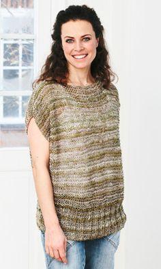 Strikkeopskrift, denne retstrikkede bluse i dobbelt garn er nem at strikke