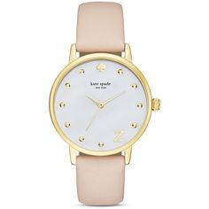 kate spade new york Monogram Metro Watch, 34mm (13,100 INR) ❤ liked on Polyvore featuring jewelry, watches, accessories, z, monogram jewelry, kate spade watches, kate spade jewelry and kate spade