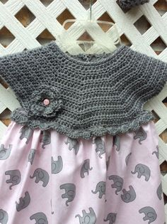 Girls Top Crochet Top Girls Dress Gray Elephant by WitasCreations