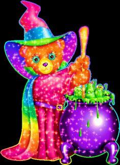 Lisa Frank Witchy Bear [ x ] Glitter Phone Wallpaper, Fairy Wallpaper, Halloween Wallpaper Iphone, Cute Disney Wallpaper, Kawaii Wallpaper, Cellphone Wallpaper, Holidays Halloween, Halloween Kids, Lisa Frank Folders