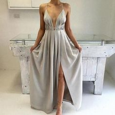 spaghetti strap prom dress,long chiffon prom dress,slit side evening dress