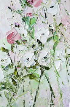 Coral Pink White Green Painting Oil Flower Colorful Floral Landscape Large Wall Art Dusky Dusty Pale Bohemian Palette Knife Impasto Abstract Roses Tulips Althaea Possible to perform a similar oil painting in the size you want. Hi ! This artwork is painted in oils on canvas with