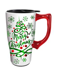 Merry Christmas Travel Mug by Spoontiques Christmas Travel, Merry Christmas, Travel Mug, Mugs, Tableware, Holiday, Gifts, Christmas Print, Navidad