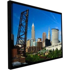 Cody York Cleveland 13 inch Floater-Framed Gallery-Wrapped Canvas, Size: 24 x 36, Green