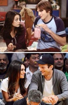 "Jackie and Kelso/Mila Kunis and Ashton Kutcher. They're engaged and expecting a baby. ""Jackie better not get all fat!"""