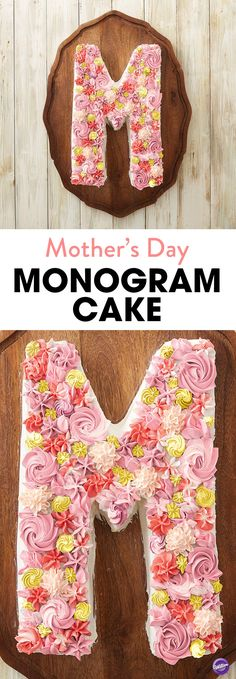 Make a cake big enough to celebrate Mother's Day with the whole family with this classic 'M' Monogram Cake. Make the cake using the Wilton Countless Celebrations Pan to personalize.