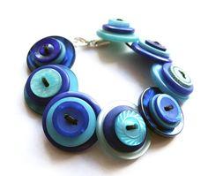 Blue bracelet, button, buttons, aqua, dark blue, handmade, matching, quirky