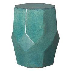 Teal Octagon Matrix Garden Stool Ceramic Stool, Ceramic Garden Stools, Outdoor Stools, Outdoor Side Table, Burke Decor, Chairs For Sale, 3 D, Teal, Sculpture