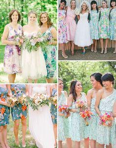Floral Print Bridesmaids Dresses   onefabday.com