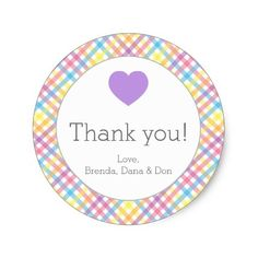 Spring Gingham with Lavender Heart Sticker