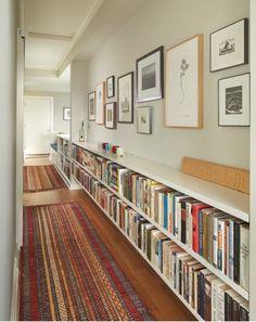 long hallway, low bookshelves