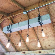 Gray-Blue Natural Wood Beam Chandelier - #Chandeliers #Beam #DIY #Edison #Farmhouse #Handmade #Huge #LightBulb #LightFixture #Recycled #Rustic #Wood (source: idlights.com)