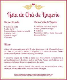 Realizando um Sonho | Blog de casamento e vida a dois: Chá de Lingerie !