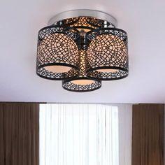Lightinthebox Modern Creative 3 Light Flush Mount Black Painting Metal Ceiling Light Fixture Chandeliers for Kitchen