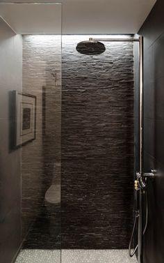 Small Modern Bathroom in Dark Scheme