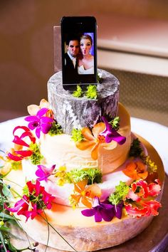 Cheese tower / cheese cake with our selfy cake topper from our wedding