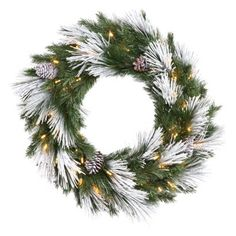 Pre-Lit Flocked Mix Wreath - Clear Lights (30'')
