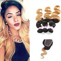 Shengmeiyuan Beauty Show 8-30 Inches Grade 9A Unprocessed Brazilian T1B27 Ombre body wave Virgin Hair 3 Bundles With ClosureRosa Hair Products Silver Human Hair Extensions 12 14 16 with 12inch