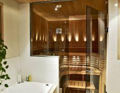 Sauna – a nice private spa area in the bathroom Loft Bathroom, Narrow Bathroom, Modern Bathroom, Sauna Steam Room, Sauna Room, Saunas, Home Spa Room, Sauna Design, Finnish Sauna