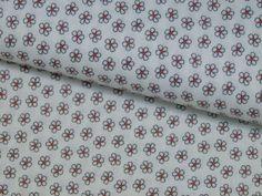 Stoff Blumen - Baumwolle Blumen Kamille grau rot weiß Poppy - ein Designerstück…