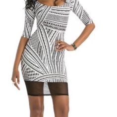Geometric Bodycon Dress The first 2 pictures are of the original dress. The last 2 pictures are of the dress now after I made alterations. The dress has never been worn. 10/10 condition. Fast shipping  Nicki Minaj Collection Dresses Mini