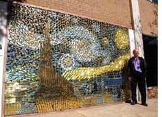 Hardware store owner David Goldberg amassed quite a collection of discontinued doorknobs and door accessories over the years. Instead of discarding them or melting them down, the inventive entrepreneur decided to repurpose them into a large mural replicating Vincent van Gogh's Starry Night. Located outside of his store Union Hardware in Bethesda, MD, the large-scale public wall installation attracts an endless amount of traffic as people stop and stare to take in the creative re-imagining.