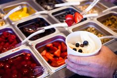 When we say lots of toppings, we meant it.  Heck you can go topless if you want!  That's if you don't want any toppings on your yogurt.  What are you thinking????
