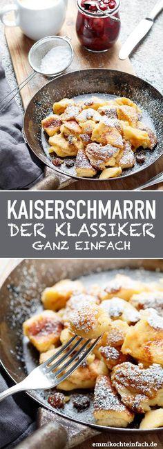 Kaiserschmarrn - www.de snacks for kids to make Kaiserschmarrn ganz klassisch - emmikochteinfach Easy Cake Recipes, Sweet Recipes, Dessert Recipes, Healthy Recipes, Snacks Recipes, Diy Snacks, Night Snacks, Paleo Food, Savory Snacks